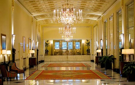 The entrance of the Mayflower Hotel---the venue that frequent guest Harry Truman called the