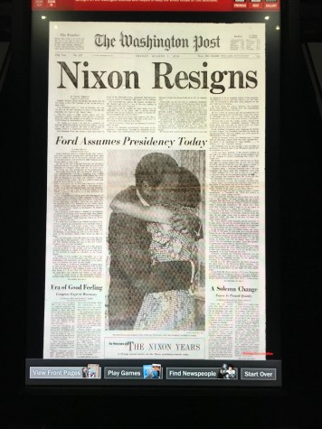 The Newseum has archived copies of every front page of almosts every daily newspaper in the world. Above is an archived copy of the front page of the Washington Post the day that Nixon resigned from the Presidency.