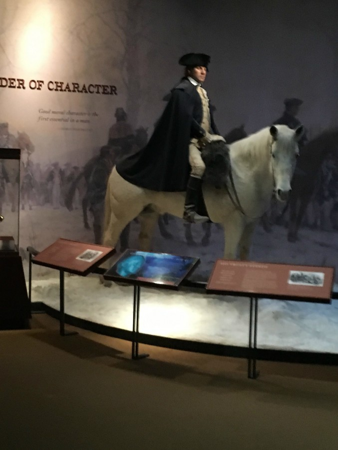 A life-like replica of George Washington during the Revolutionary War--one of many wax statues in the museum.