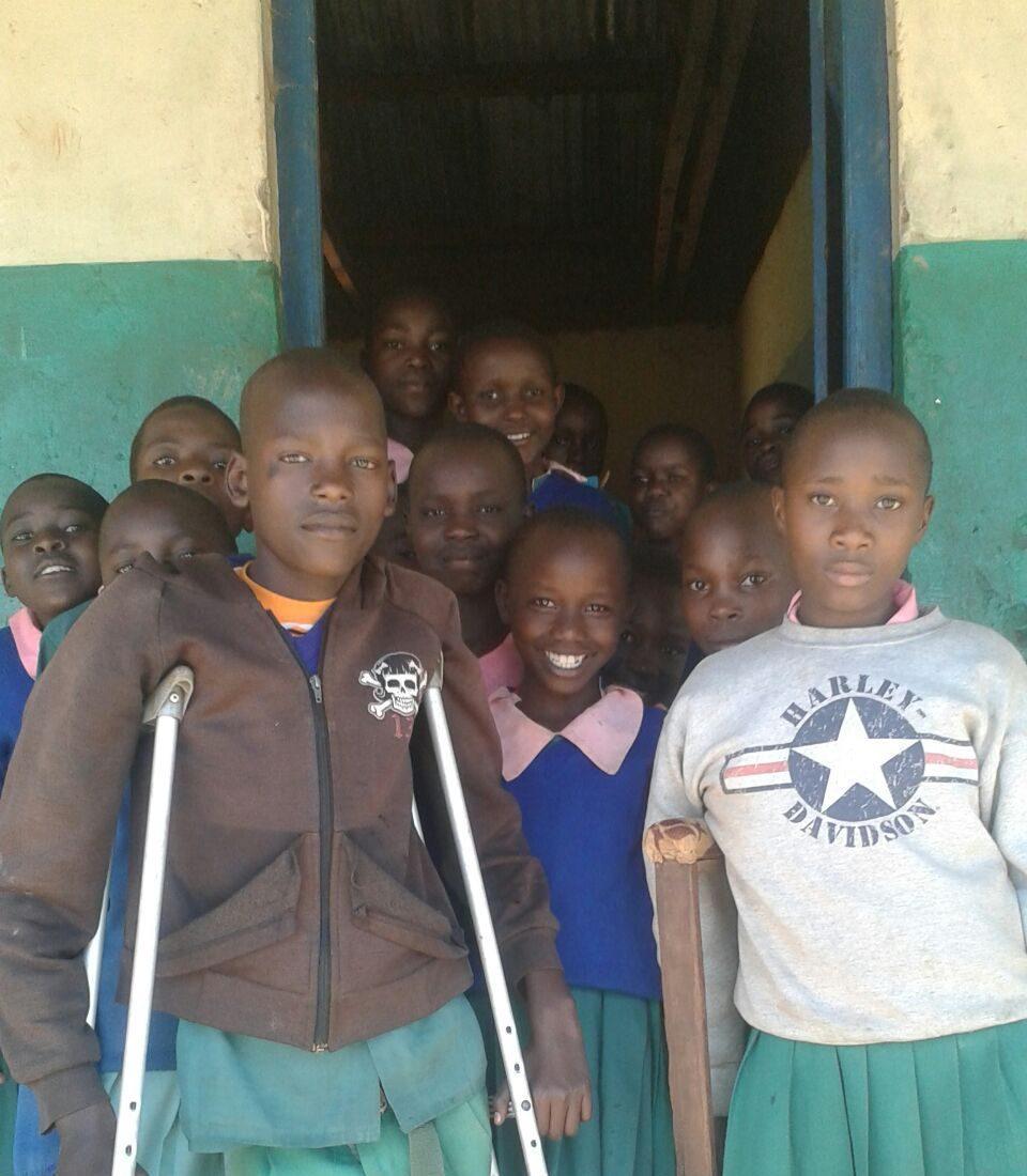Senior Edwin Rutto is raising $1,000 for children, like these, at Sitamani Primary School.