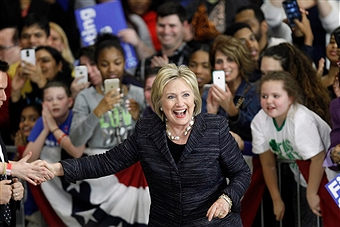 Democratic Presidential Candidate Hillary Clinton hosting a Pokemon Go rally on March 8, 2016.