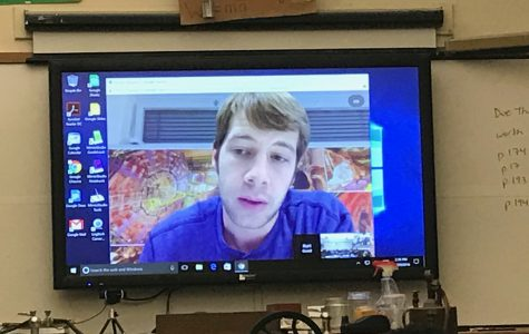 Physicist Dr. Kurt Jung discussing partial physics with SBP seniors via Google Hangouts.