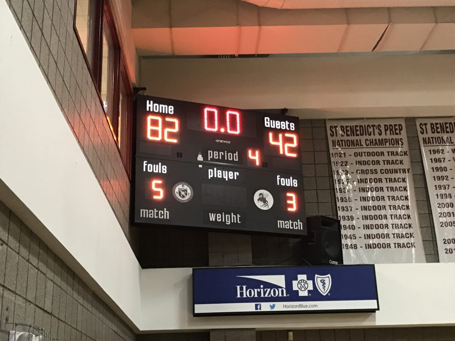 Final score of the Gray Bee's basketball debut.