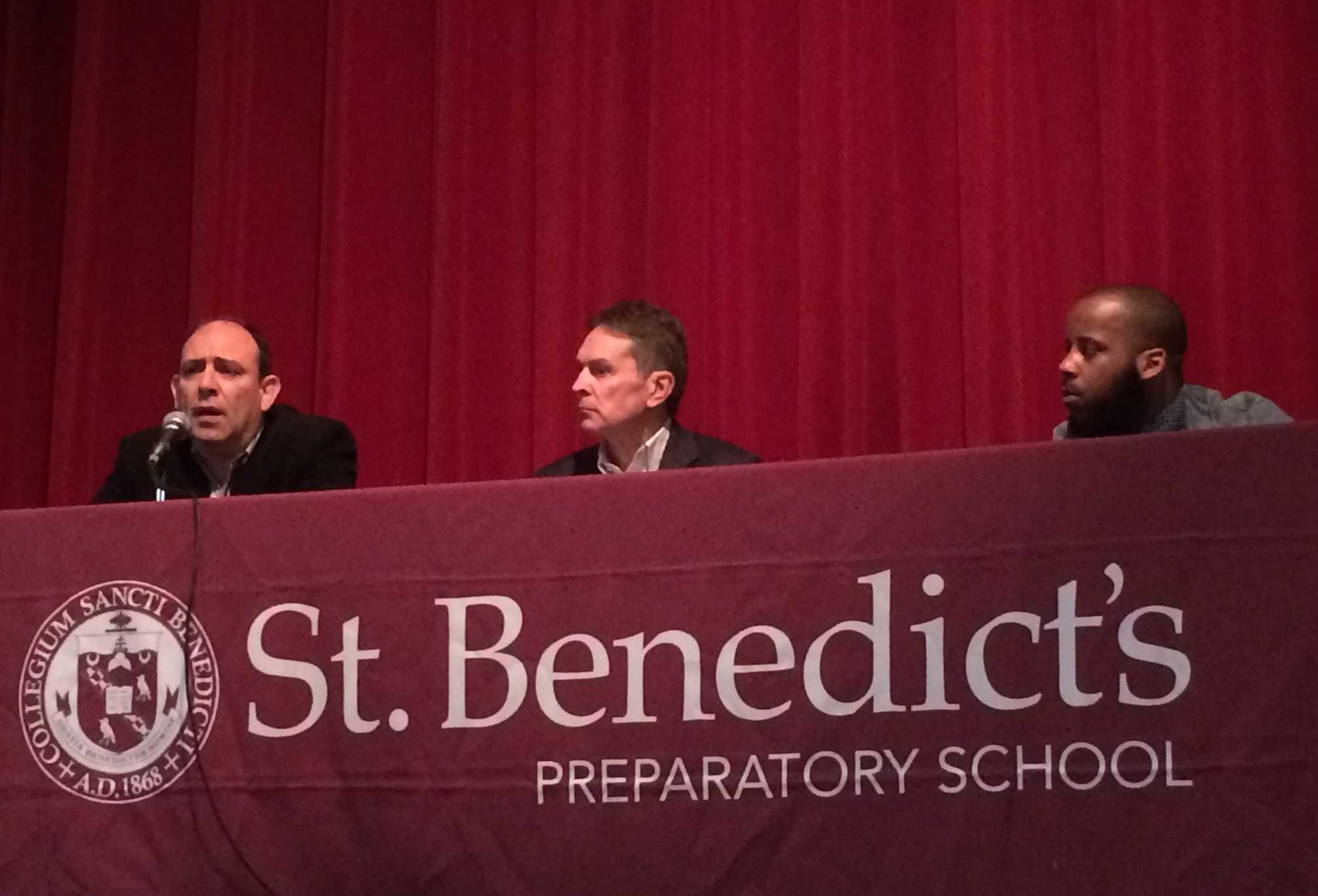 Theatre production company owner Daryl Stewart, CFO of Greenwich Capital Ben Carpenter, and construction business owner Carlos Farinhas'85 relating their business experiences to seniors, Jan. 23.