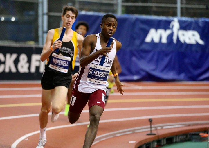 UDI Alfred Chawonza out kicking the runner from Hopewell Valley to secure the 4x800-meter relay's victory at Millrose Games.