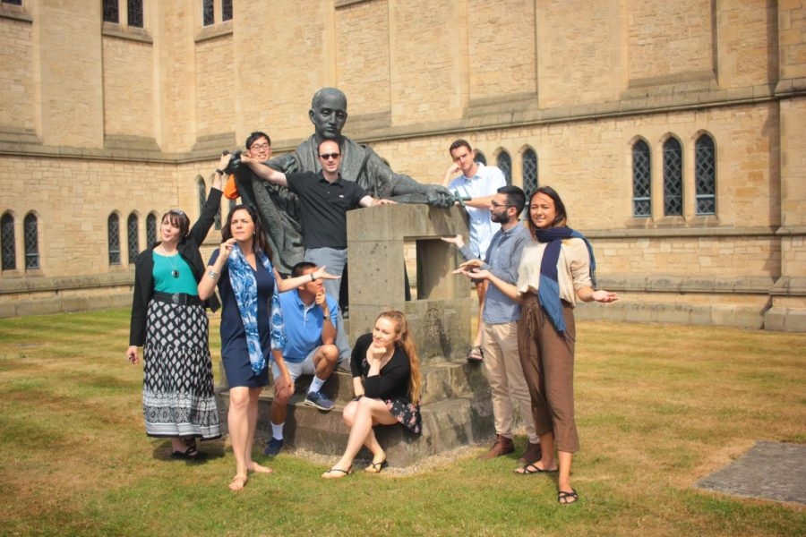 Scala students visit statue of St. Benedict  at Ampleforth Abbey