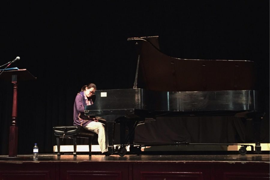 Tereza Lee plays the piano in Conlin Auditorium.