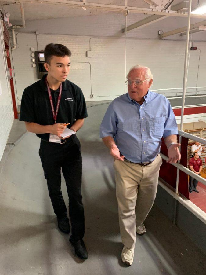 George Coker '61 is interviewed in Shanley Gym.