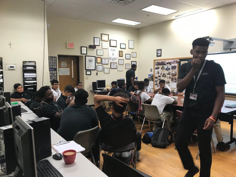 Staff members of the award-winning Benedict News meet regularly to discuss story ideas.
