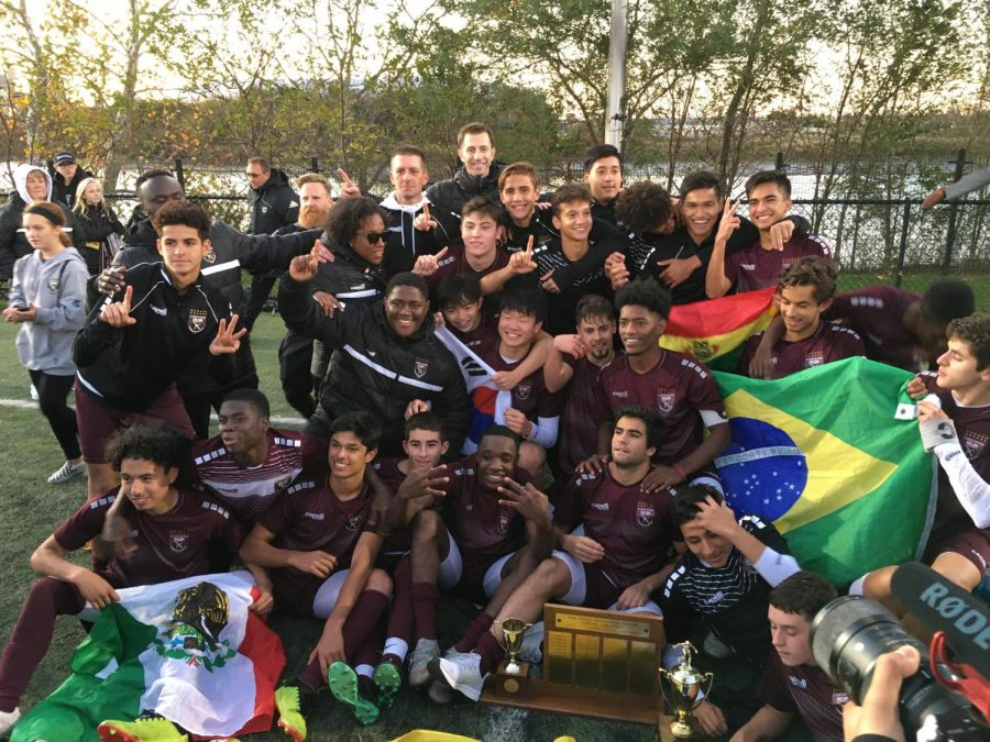 The SBP Varsity Soccer Team celebrates its final victory of its successful season.