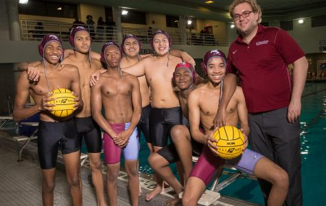 Mr. Spencer Vespole '09 with the 2018 Varsity Water Polo Team during Senior Night