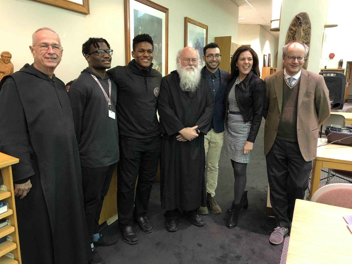 (Pictured from left to right) Fr. Albert Holtz, Anthony Agustin SY, Richard Ohia SY, Fr. Augustine Curley, Mr. Adubato, Dr. Margarita Mooney, and Mr. Carlo Lancelotti