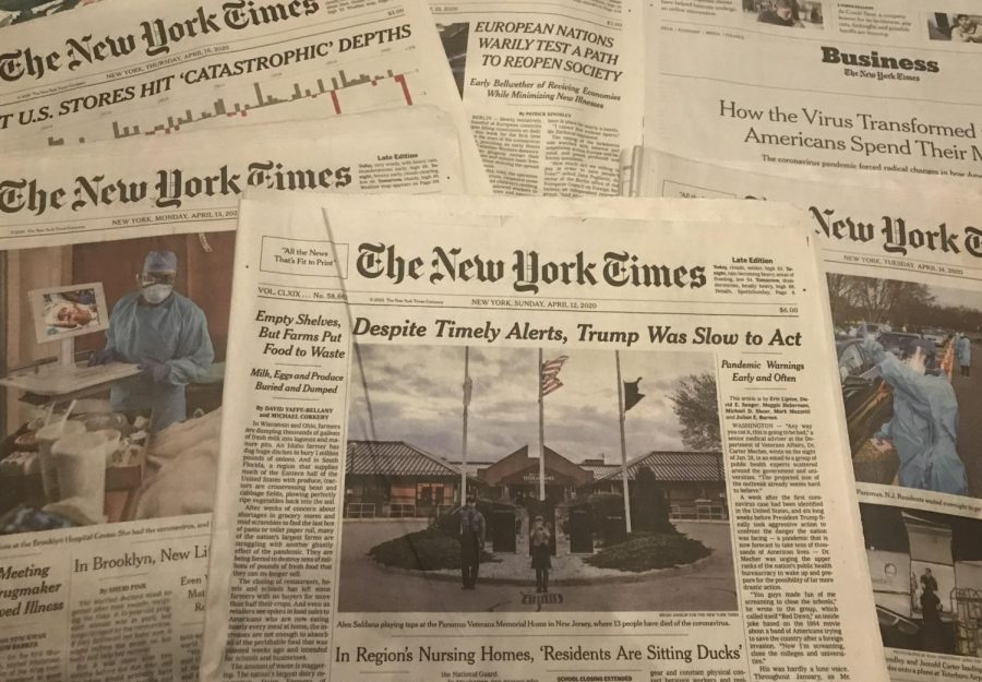 The media has focused on one major story for more than a month: the coronavirus. A collection of New York Times front pages from the past week.