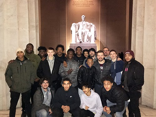 On the road for a tournament, the Gray Bee Wrestling team took time to visit the Lincoln Memorial in Washington, D.C.