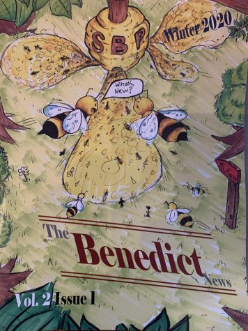 The Winter 2020 edition of The Benedict News, with a cover drawn by Grant Parker