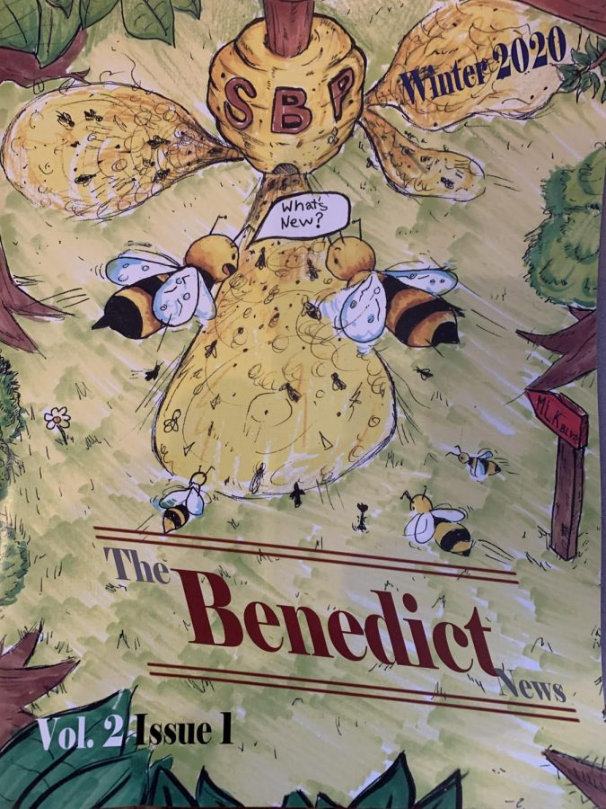 The Winter 2020 edition of The Benedict News, with a cover drawn by Grant Parker '22, was part of the journalistic output that earned a Silver Medal for the staff of St. Benedict Prep's Benedict News staff.