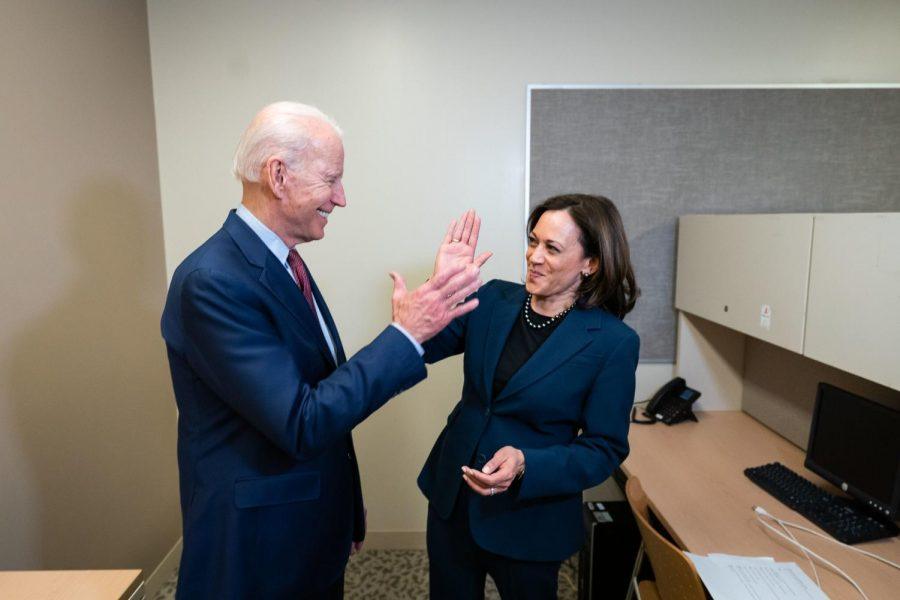 In pre-pandemic times, then Democratic Presidential candidate Joe Biden shared a light moment with then Sen. Kamala Harris. Mr. Biden is being sworn as U.S. President today, with Ms. Harris as Vice President.